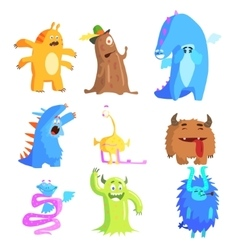 Cute Monsters and Aliens Set vector