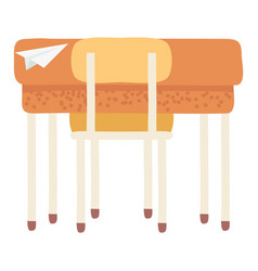 Desk with chair paper plane origami school table vector