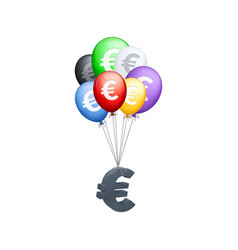 different colored balloons carrying euro symbol vector image