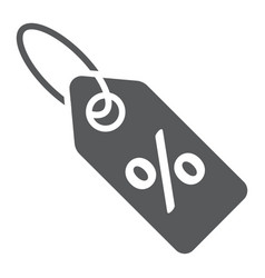 discount percent tag glyph icon e commerce vector image