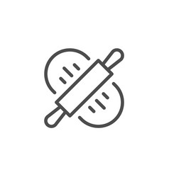 dough rolling line outline icon vector image
