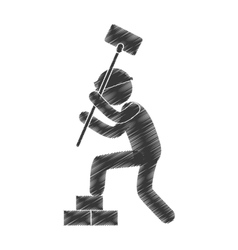 Drawing man worker hammer brick stack figure vector
