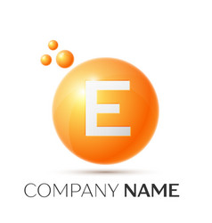 e letter splash orange dots and circle bubble vector image