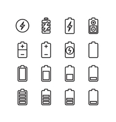 Electric battery phone charging thin line vector image