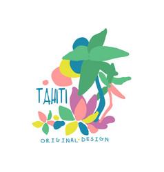 Exotic summer vacation colorful tahiti logo vector