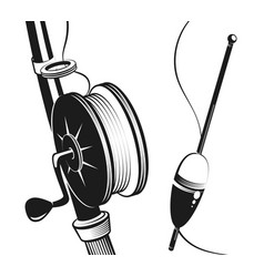 Fishing rod and float silhouette vector