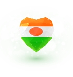Flag of Niger in shape diamond glass heart vector