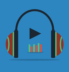 flat concept - headphones with sound wave icon vector image