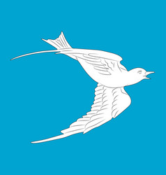 flying white dove isolated bird on blue backgroun vector image