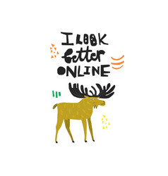 funny deer hand drawn color vector image