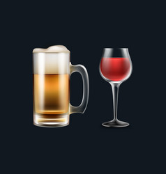 glass of wine and beer vector image