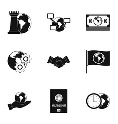 Global icon set simple style vector