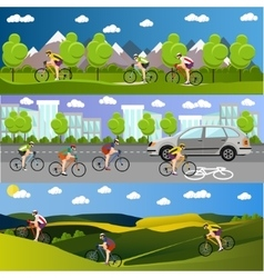 Group bicycle riders on bikes in mountains vector