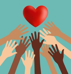 Group of Diversity Hand Reaching For The Red Heart vector image