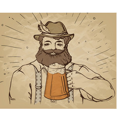 Happy characters holding a mug full of beer vector