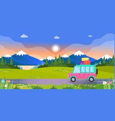 hatchback driving by road on landscape background vector image