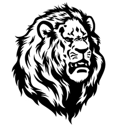Head lion black white vector
