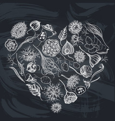 Heart floral design with chalk black caraway vector