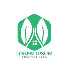 house and leaves logo design vector image