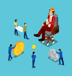 isometric business people businessman in crown vector image