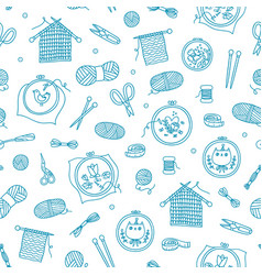 knitting and stitching outlined pattern vector image