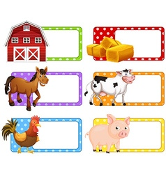 Labels with different farm animals vector image