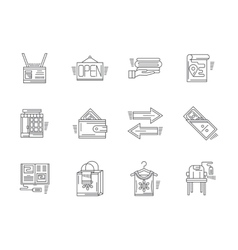 Linear icons for commission shop vector