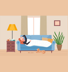 Male character having a cold and lying in bed dog vector