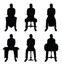 man silhouette set sitting leisure vector image