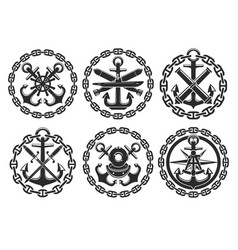 marine and nautical heraldic anchor icons vector image vector image
