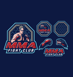 mma mascot logo design vector image