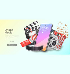 Mobile movie theater online cinema watching vector