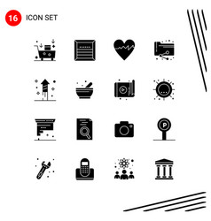 Modern set 16 solid glyphs pictograph of vector