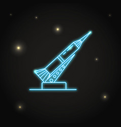 Neon rocket and launch pad icon in thin line style vector