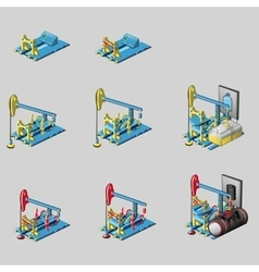 Oil rig eight consecutive icons of construction vector