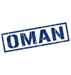 Oman blue square stamp vector