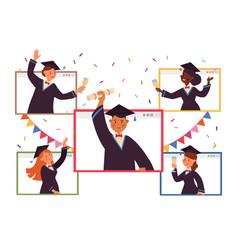 Online graduation virtual party people vector