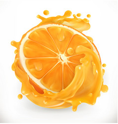 Orange juice fresh fruit 3d realism icon vector