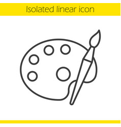 Palette with brush linear icon vector