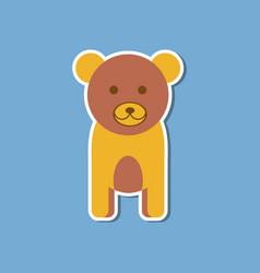 Paper sticker on stylish background cartoon bear vector