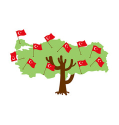 patriotic tree turkey map turkish flag national vector image
