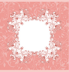 pink floral background with frame vector image