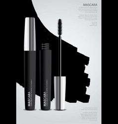 poster cosmetic mascara with packaging vector image