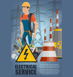 power plant electrician and equipment vector image
