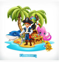 ppirate little boy and funny animals tropical vector image