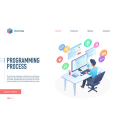 programming process landing page template vector image