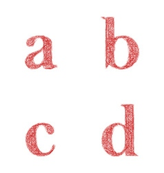 Red sketch font set - lowercase letters a b c d vector