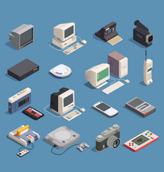 retro gadgets set vector image