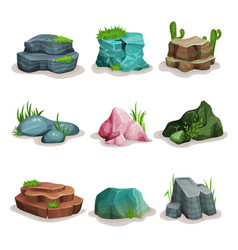 Rock stones set boulders with grass design vector