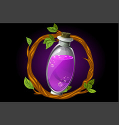 Round wreath twigs and magic potion in a vector